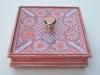 Porta caramelero de madera con tapa de vidrio y detalles de ñanduti